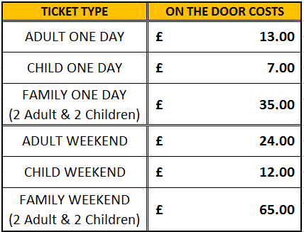 Spectator ticket prices - on the door
