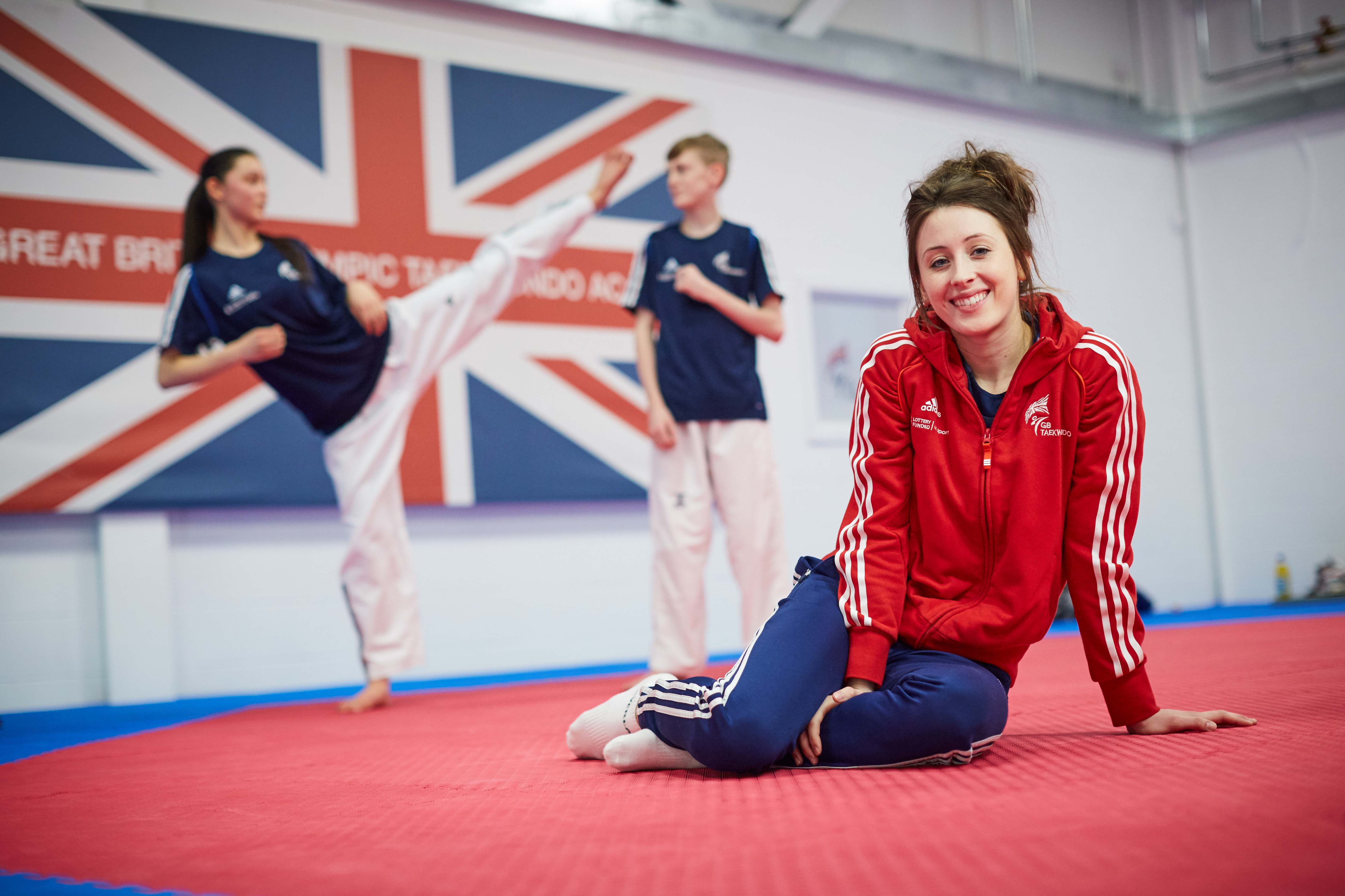 National Taekwondo Centre in Manchester official opening of the new Centre after a £3m transformation. Pictured Jade Jones with Maria Asef 14 from Manchester and Mason Yarrow15 from Doncaster (behind)
